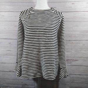 Loft striped sweater bell sleeves